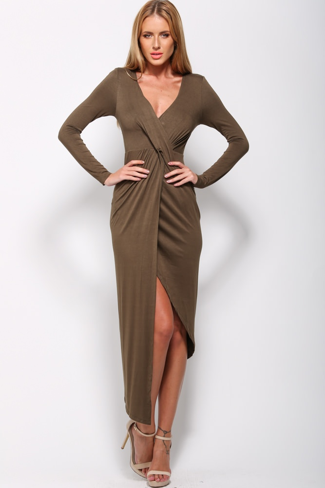 brown wrap-up dress