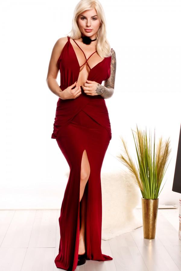 burgundy deep cut middle slit dress