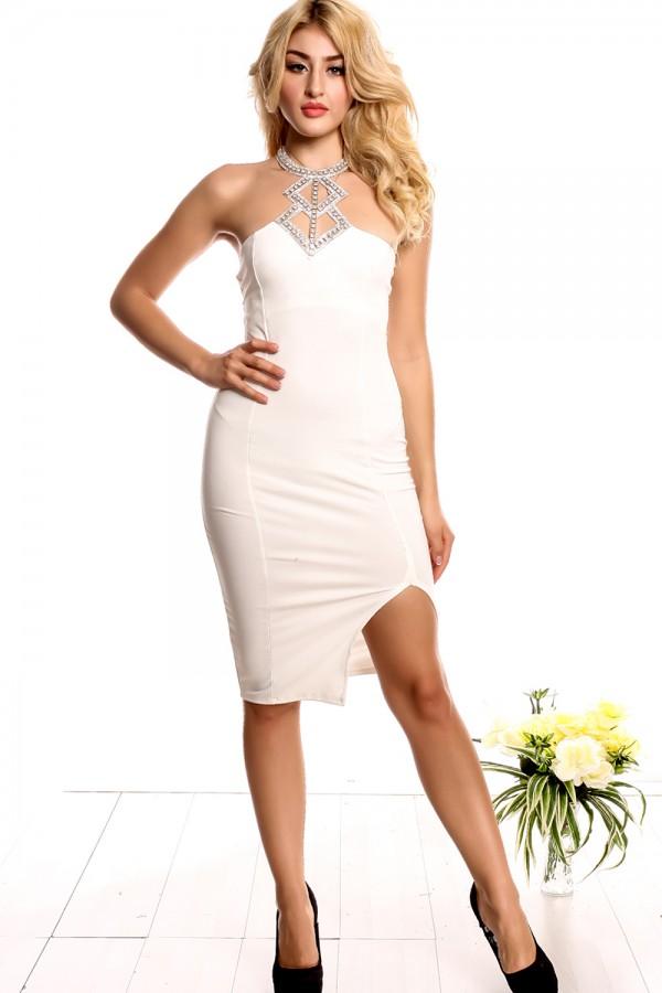 rhinestone accents white dress
