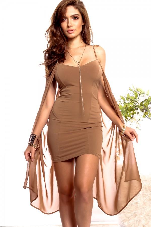 short spaghetti dress with sheer sleeves