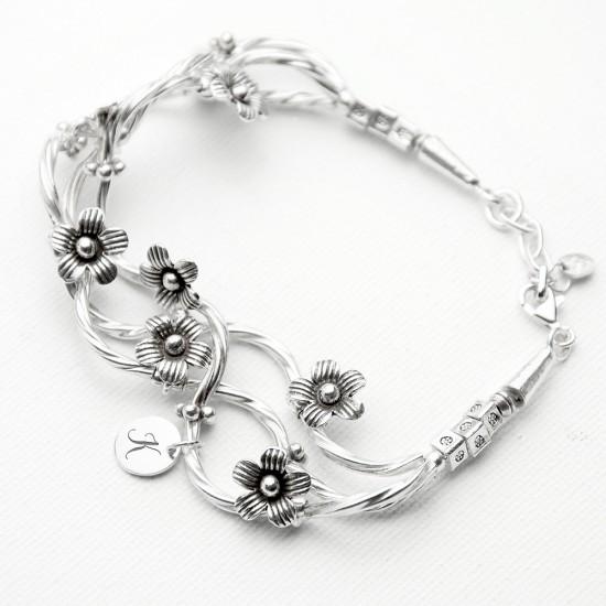 fine silver forget me knot bracelet