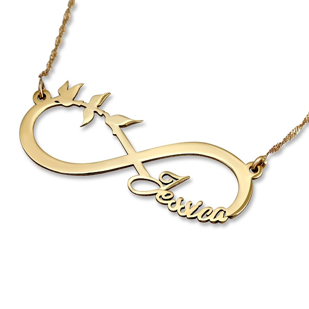 infinity necklace with birds by Name Factory