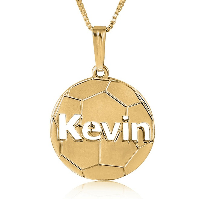 soccer name necklace by Name Factory